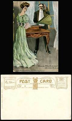 Phonograph Gramophone Young Mrs Caudle Geo R. Sims Hellier Nengelow Old Postcard