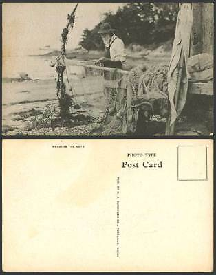 Gibraltar A Fisherman Mending The Net, Fishing Nets, Fishery, Beach Old Postcard