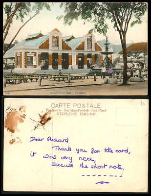 Singapore, Orchard Road Market, Old Hand Tinted Colour Postcard Fountain, Malaya