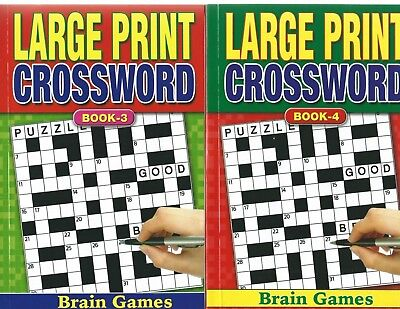 2 Large Print Crossword Books 75 Puzzles In Each A5 Size Book 3 & 4 With Free Pp