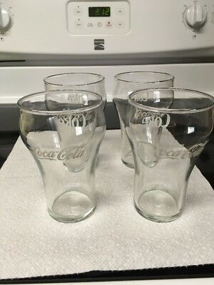 Vintage Enjoy Coke Coca Cola Clear Drinking Glasses 4ct.