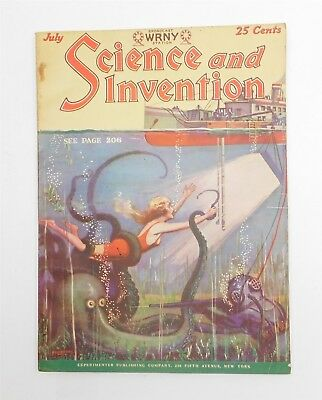 Antique SCIENCE & INVENTION MAGAZINE July 1928 Auto Sci-Fi Radio Chemistry Phone