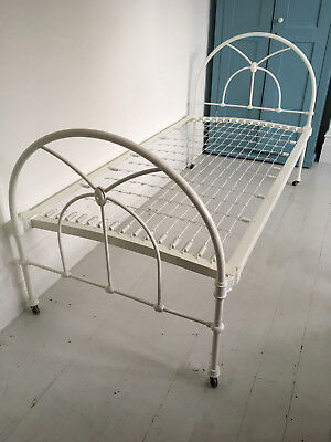 Antique Victorian Cast Iron Metal Single Bed on Casters