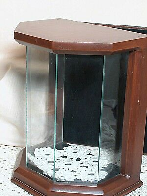 Doll or Figurine Glass & Wood Display Case 10 inches High