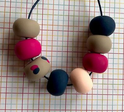 Funky Handmade Polymer Clay Pink Sand Navy Apricot Bead Statement Necklace. NEW