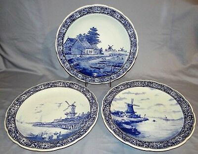 """3 Vtg Royal Sphinx Delft Boch Holland 16"""" Charger Plates Set Cow Family Windmill"""