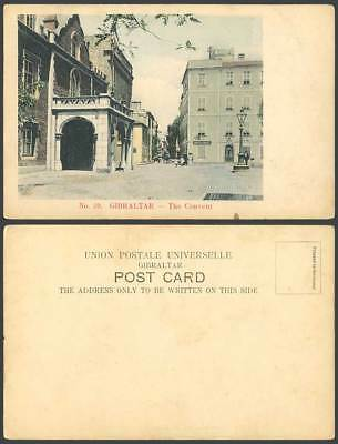 Gibraltar Old Hand Tinted Postcard The Convent Pl. Street Scene Bristol Pharmacy