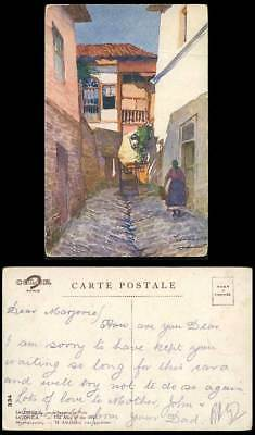 Greece Old Art Postcard Salonica Salonique Alley of The Well, L'Impasse au Puits