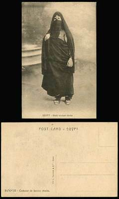 Egypt Old Postcard Egyptian Arab Woman Dress, Veiled Lady, Traditional Costumes