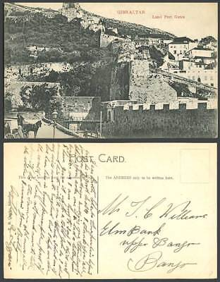 Gibraltar Old Postcard Land Port Gates Bridge Walls Mountain Hill and Horse Cart