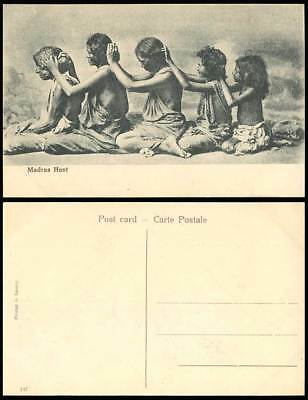 India Old Postcard MADRAS HUNT Native Women Little Girls Hunting for Lice, Louse