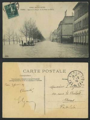 PARIS FLOOD 1910 Old Postcard Quay Quai de la Rapee View of Pont de Bercy Bridge