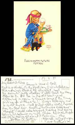 MABEL LUCIE ATTWELL Old Postcard Black Cat - I See A Happy Future For You MLA 48