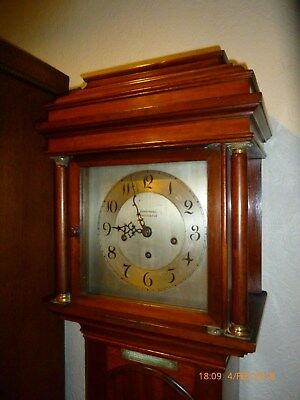 1920's Mahogany grandmother clock Westminster chime slide off hood