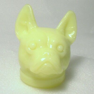 Boyd Glass - French Bulldog Head - Figurine Paperweight - Bright Yellow
