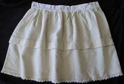 """antique girl's white wool petticoat 23"""" waist, hand sewn buttonholes knit lace"""