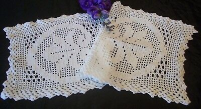 Vintage White Cotton Hand Crochet Filet Lace  Doily