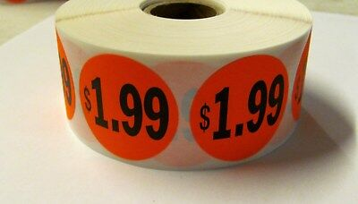 "1000 Bright Red $1.99 Price Point Label Retail Sticker 1 1/2"" Circle 1.5"" 1.99"