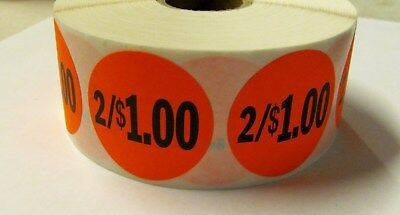"""1000 Bright Red 2/1.00 Price Point Label Retail Sticker 1 1/2"""" Circle 1.5"""" 2/$1"""