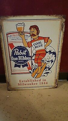 (L@@k) Pabst Blue Ribbon Beer Cool Blue Guy On Surfboard Tin Sign Bar Game Room