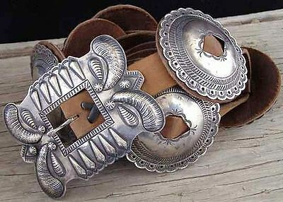 Navajo Antiqued Silver First Phase Style CONCHO BELT - G Yazzie Native Made USA