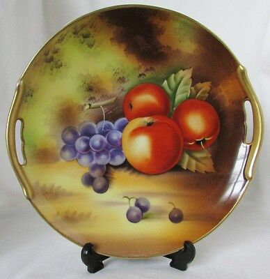 Antique Vintage Signed Hand Painted Display Plate Fruit Green Crown Mark