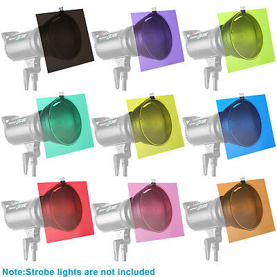 Neewer Photo 9 Pieces Flash Lighting Gel Filter Kit with 9 Different Colors
