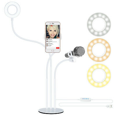 Neewer White LED Selfie Ring Light with Cell Phone Holder and Microphone Holder