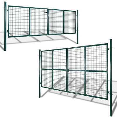 vidaXL Garden Gate Fence Door Mesh Security Fencing Galvanised Steel Multi Sizes