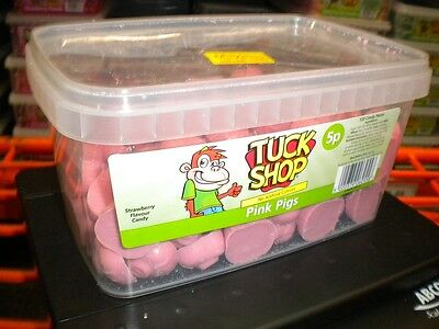 TUCK SHOP 120 PINK PIGS 900g TUB UK SWEETS PARTY HALLOWEEN BIRTHDAY ETC