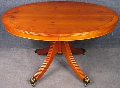Regency Style Yew Wood & Mahogany Oval Top Coffee Table