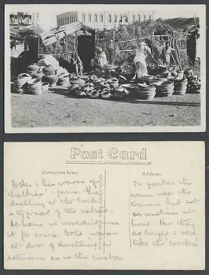 India Old Real Photo Postcard Native Hut Indian Potters Pottery Pots Vessels etc