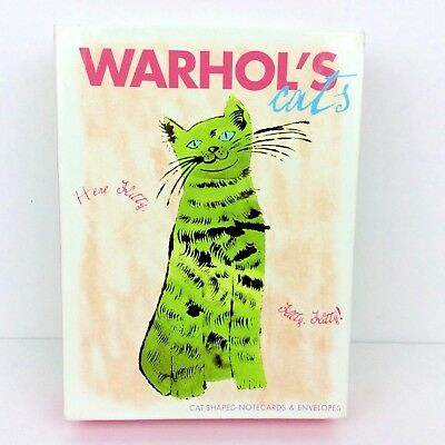 2004 Warhol's Cats Here Kitty Cat Shaped Pop Art ~ 20 Note Cards & Envelopes