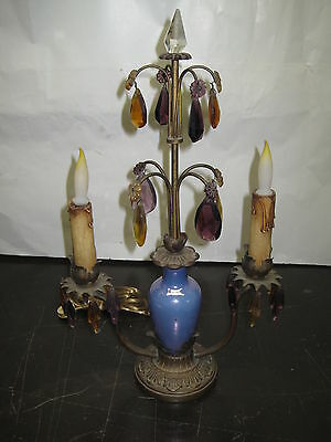 Antique Lamp Table Lamp Colored Crystals 1920's Bronze/Brass