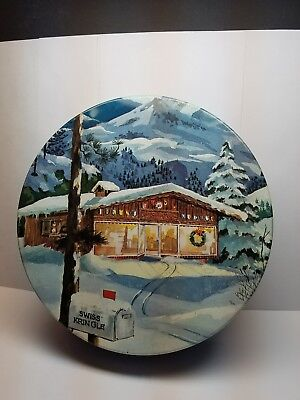 Vintage Advertising Tin The Swiss Colony Kringle Nuts Candy Monroe WI winter