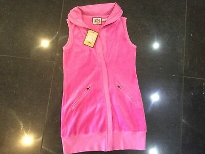 NWT Juicy Couture New & Gen. Girls Age 8 Pink Velour Sleeveless Waistcoat & Logo