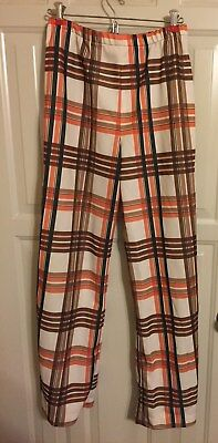 vintage brown and orange plaid polyester double knit pants