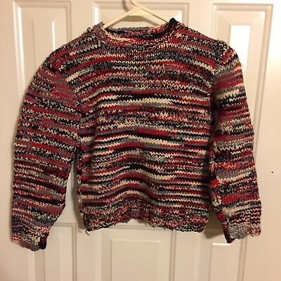vintage child's homemade sweater red white black and gray 31 chest 18 length