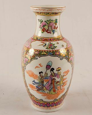 """Large Vintage Asian Chinese Famille Rose Medallion Hand Painted Vase 12"""""""
