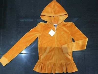 NWT Juicy Couture New & Geuine Girls Age 10 Pale Orange Velour Hoody With Logo