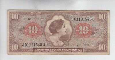 Military Payment Certificate  $10 Series 641 fine stains