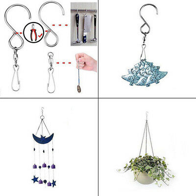1pc Small Stainless Steel S Shape Swivel Hooks Holder Wall Hanging Rotate Rack