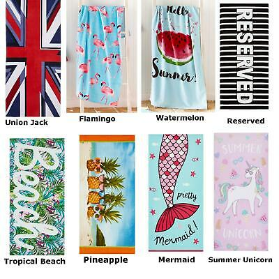 Catherine Lansfield 100% Cotton Beach Towels Holiday Swimming Gym Towel Novelty