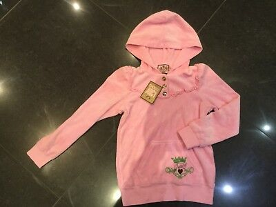NWT Juicy Couture New & Genuine Girls Age 8 Pink Velour Hoody With Juicy Logo