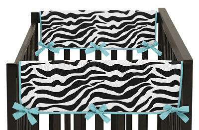 Jojo Zebra Print 2P Side Rail Guard Crib Cover Baby Teething Protector Wrap