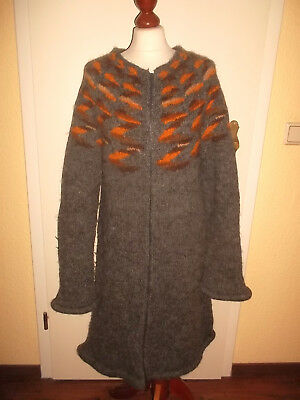 Island Norweger Damen Strickjacke Wolle Hippie wool Mantel women S/M