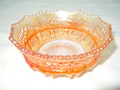 Vtg Northwood Marigold Carnival Glass Grape & Cable Thumbprint Berry Bowl Signed