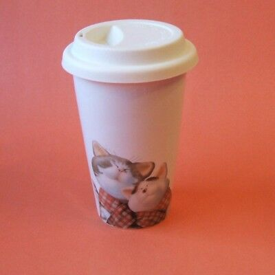 Animal Rescue Happy Safe Cats Ceramic Travel Tumbler Cup Mug Silicone Lid New