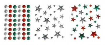 Stick On Self Adhesive Assorted Christmas Diamantes  Red, Green & Silver ...