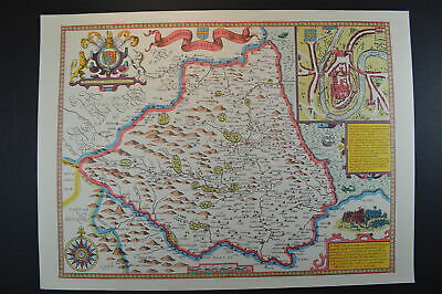 Vintage decorative sheet map of Durham with town plan John Speede 1610